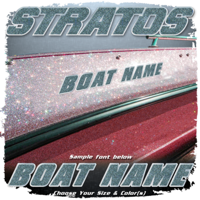 Domed Boat Name in the Stratos Font, Choose Your Own Colors