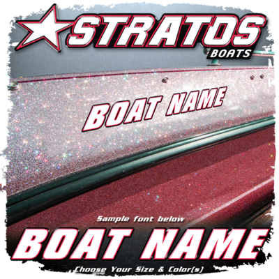 Domed Boat Name in the Stratos Font, Factory Matched White, Red & Black