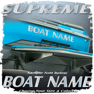 Domed Boat Name in the Retro Supreme Font, Choose Your Own Colors