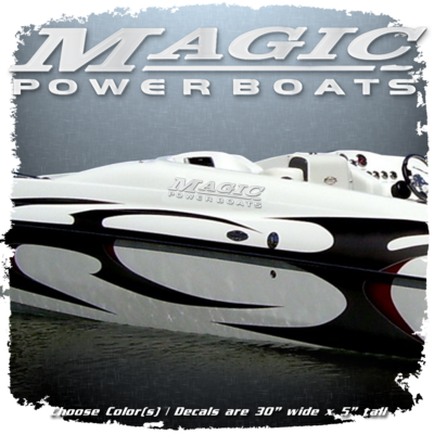 Magic Powerboats Domed Decal Set , Choose Your Colors (2 Decals Included)