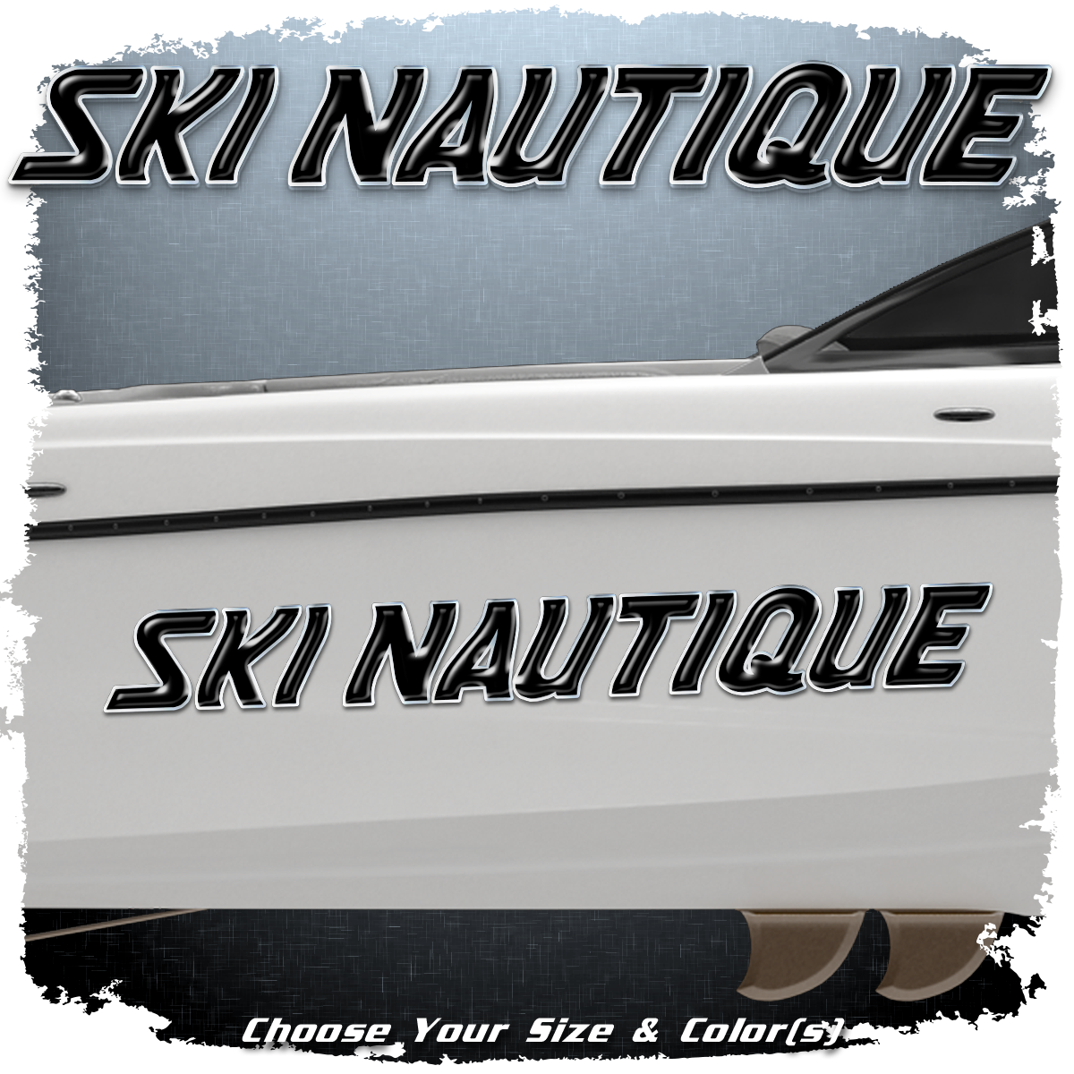 Domed Ski Nautique Decal, Choose Your Size & Colors (1 included)
