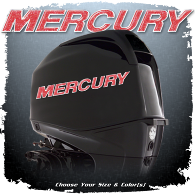 Domed Mercury Decal Set, Choose Your Size & Color (2 included)