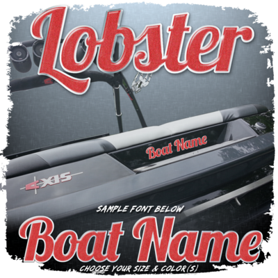 Domed Boat Name in the Lobster Font, Choose Your Size & Colors