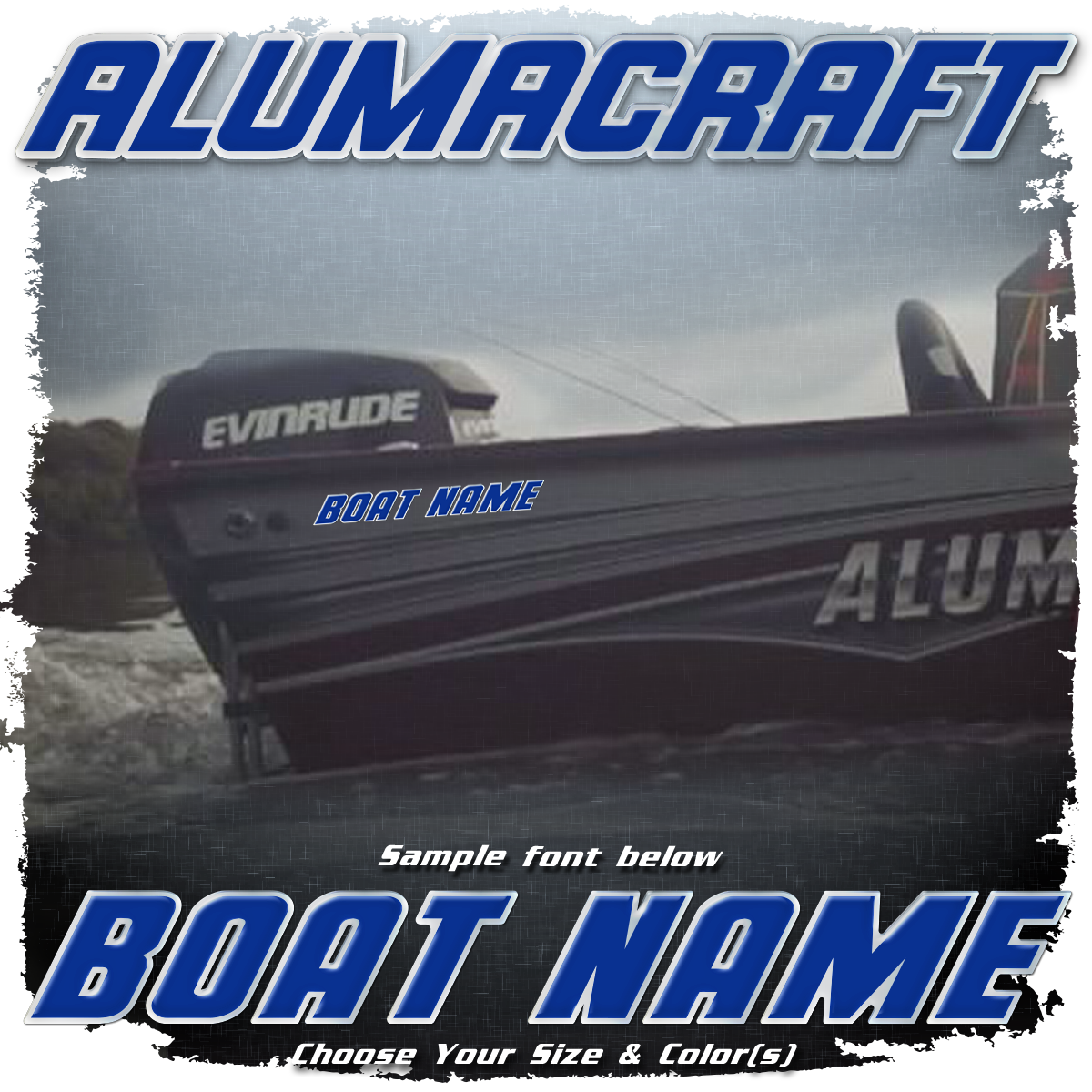 Domed Boat Name in the Alumacraft Font, Choose Your Own Colors