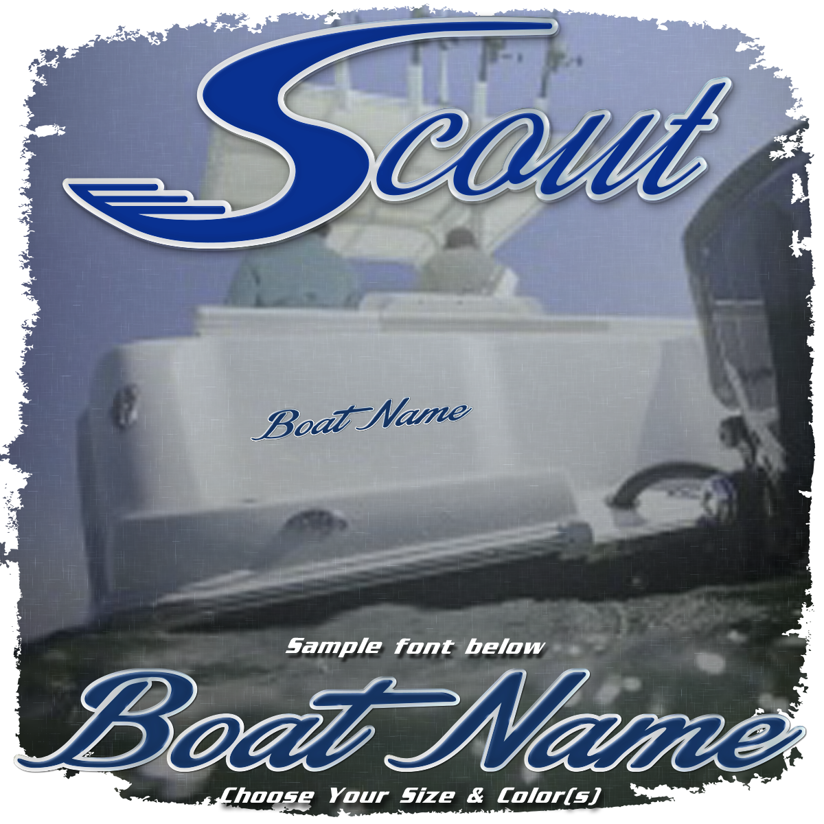 Domed Boat Name in the Scout Font, Choose Your Own Colors