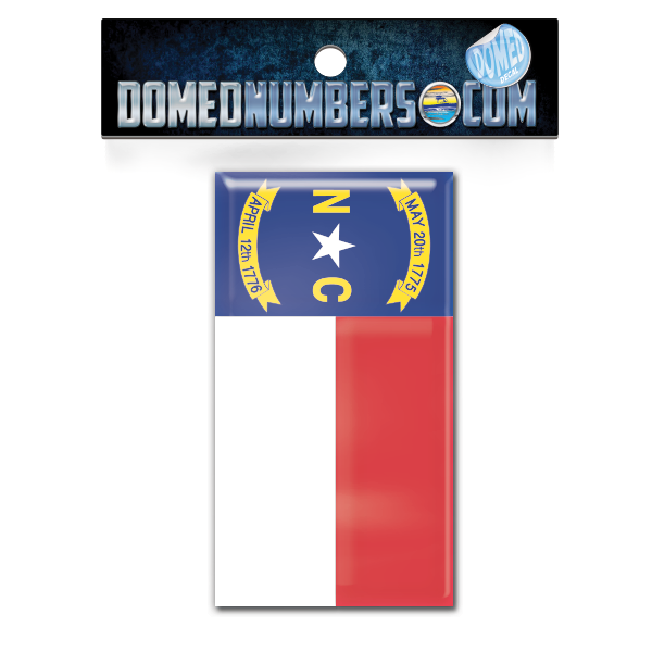 North Carolina Flag Domed Decal, Choose Your Size