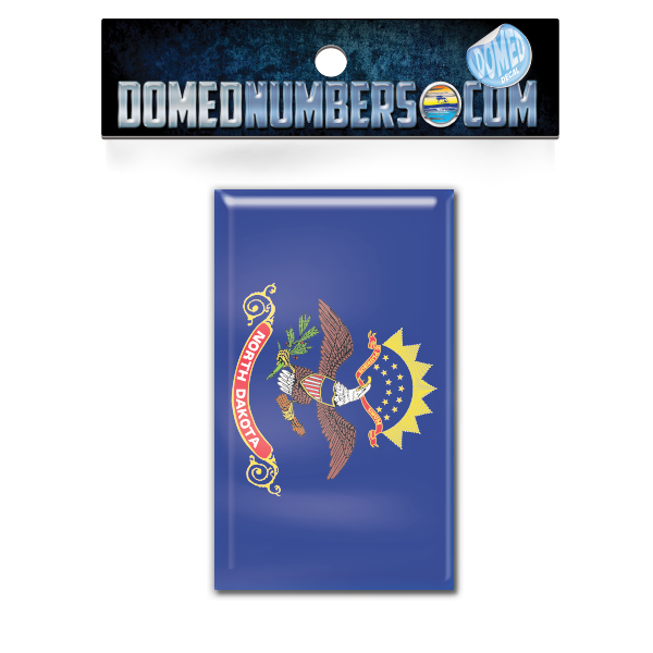 North Dakota Flag Domed Decal, Choose Your Size