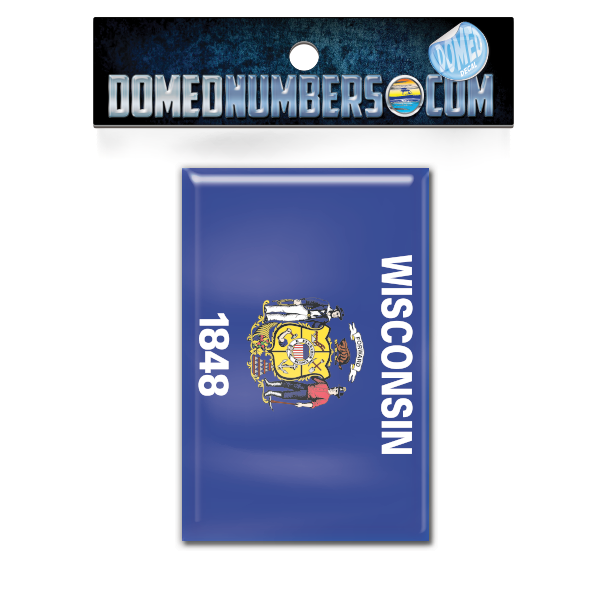 Wisconsin Flag Domed Decal, Choose Your Size