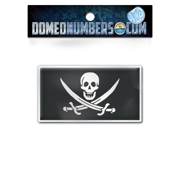 Calico Jack Pirate Flag Domed Decal, Choose Your Size