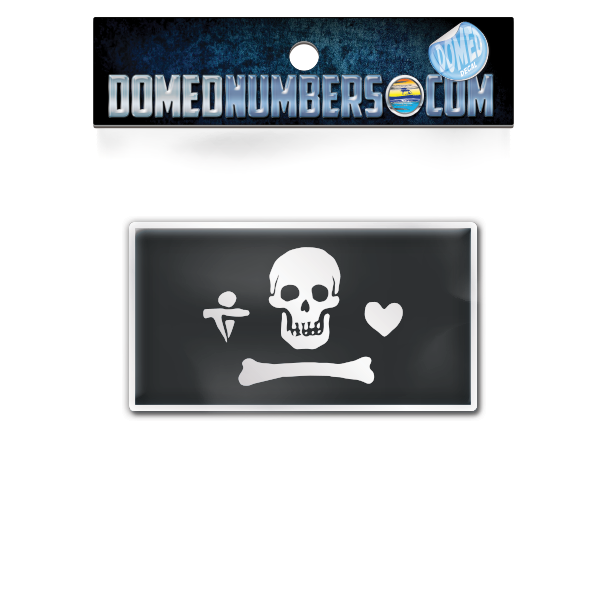Stede Bonnet's Pirate Flag Domed Decal, Choose Your Size