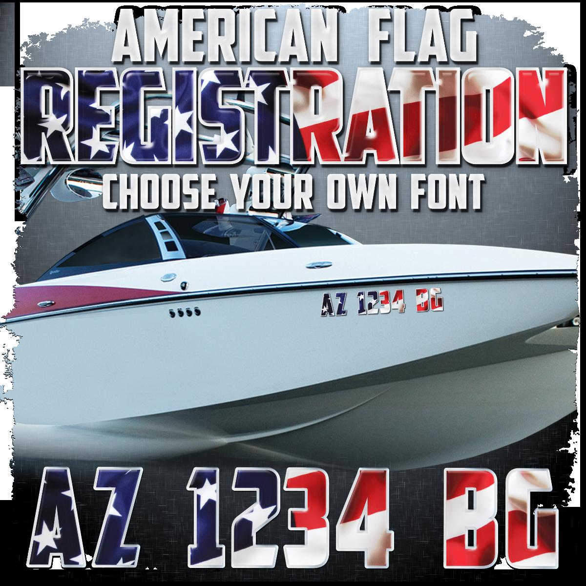 American Flag Domed Registration (2 included), Choose Your Font
