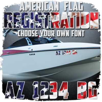 American Flag Domed Registration (2 included), Choose Your Font