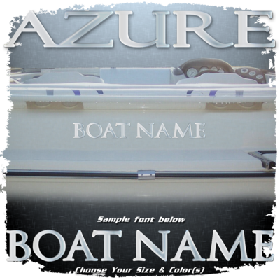 Domed Boat Name in the Azure Font, Choose Your Own Colors