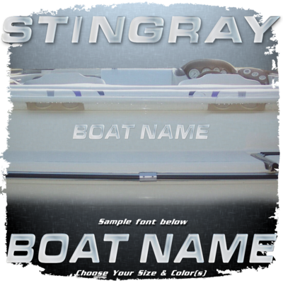 Domed Boat Name in the Stingray Font, Choose Your Own Colors