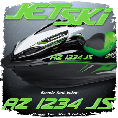 Domed Registration Numbers in the Kawasaki Jet Ski Font, Choose Your Own Colors (2 included)