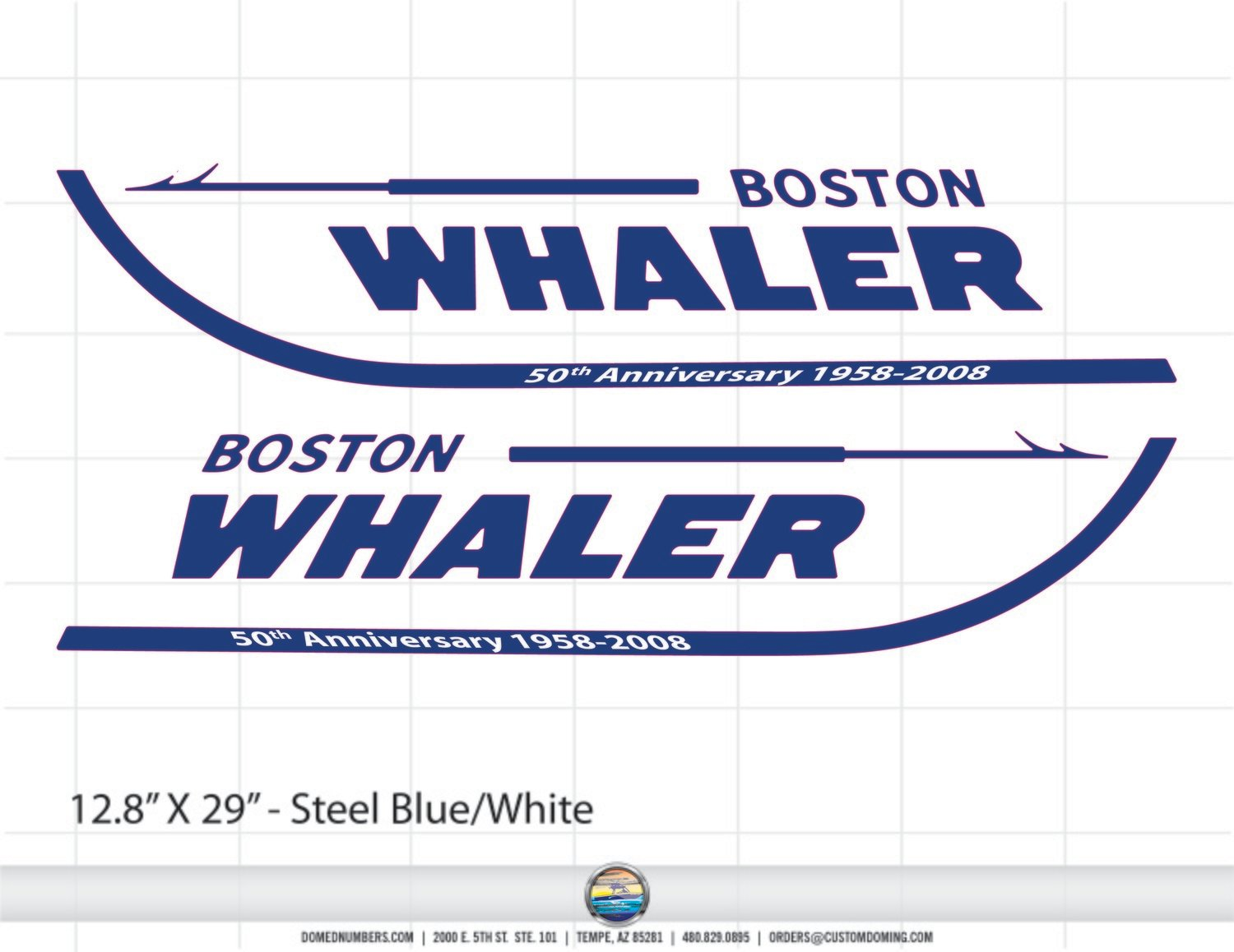 Domed Boston Whaler 50th Anniversary Edition (2 Decals Included)