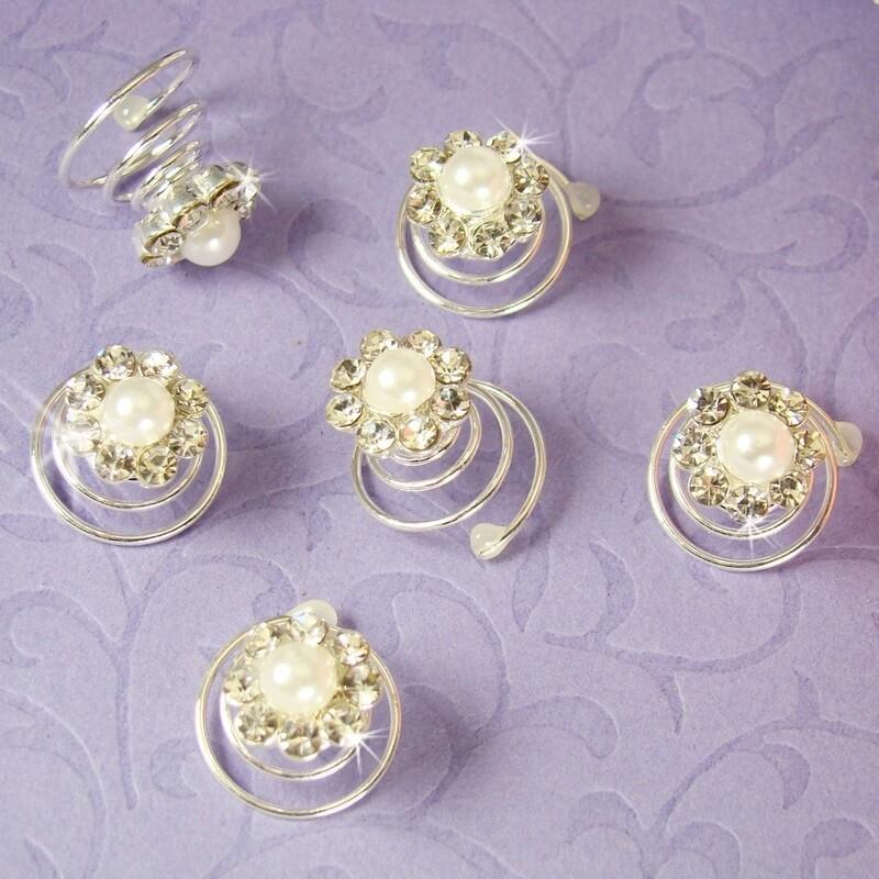 Dreamy Silver Clear Rhinestone & White Pearl Flower