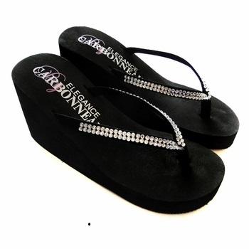 Crystals ~ Black High Wedge Flip Flops