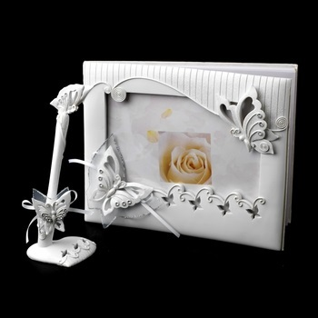 Sparkling Classic Butterfly Photo Guest Book