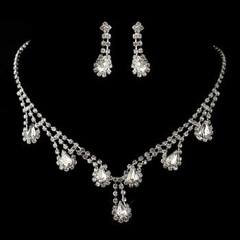 Silver Clear Rhinestone Necklace & Earrings Set
