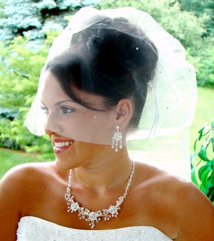 CAGE VEIL WITH RHINESTONES  BY WEDDING FACTORY DIRECT