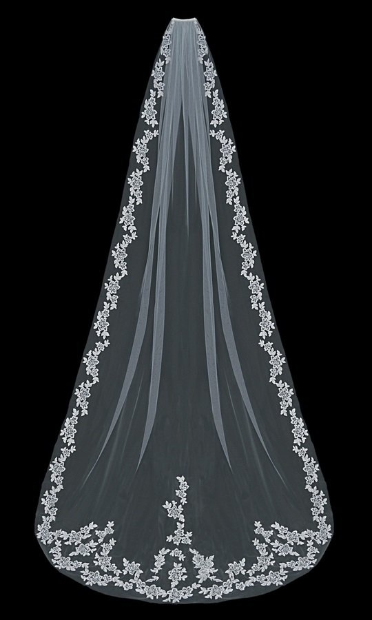 Single Tier Cathedral Veil with lace flowers by ENVOGUE ACCESSORY'S