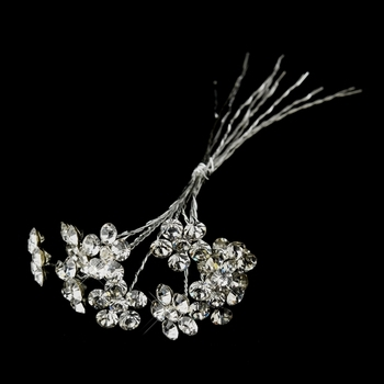 Silver Clear Crystal Flower Bridal Bouquet Jewelry
