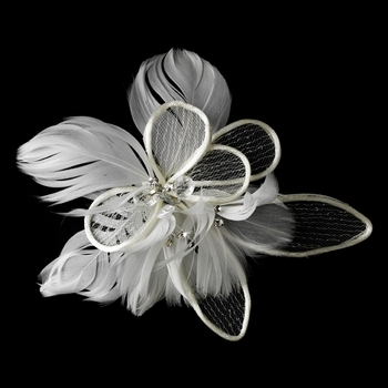 Fabulous Flower Bridal Hair Comb w/ Feathers by WEDDING FACTORY DIRECT