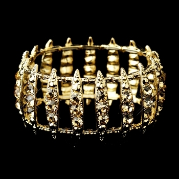 Gold Topaz Crystal Bridal Stretch Cuff Bracelet