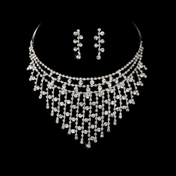 SILVER  CLEAR  RHINESTONE  SET