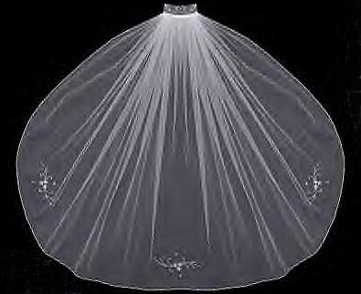 VEIL WITH SILVER & CLEAR BEADS