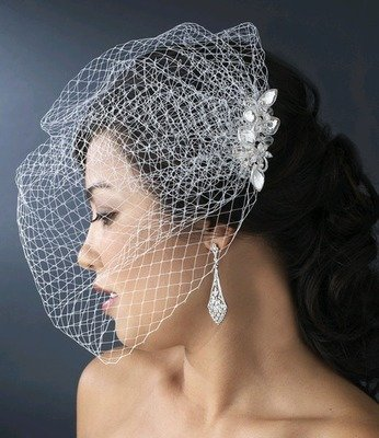CRYSTAL COMB WITH CAGE VEIL by WEDDING FACTORY DIRECT