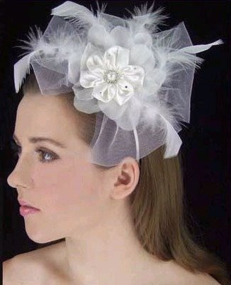 SATIN FLOWER HAT WITH HEADBAND by LC BRIDAL