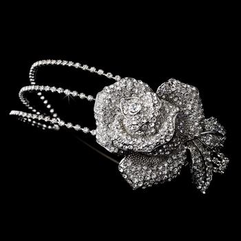 Antique Silver Clear Flower Side Accented