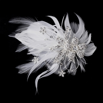 Feather Silver Crystal Bridal Hair Clip by WEDDING FACTORY DIRECT