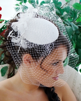 Vintage Bridal Hat with Bird Cage Veil by WEDDING FACTORY DIRECT