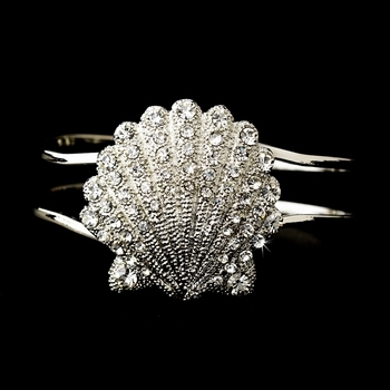 Silver Clear Sea Shell Rhinestone Bracelet