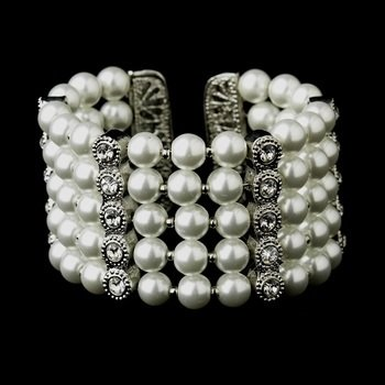 Antique White Pearl & Rhinestone Cuff