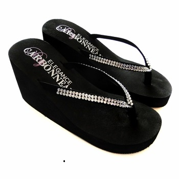 Crystals ~ Black High Wedge Flip Flops