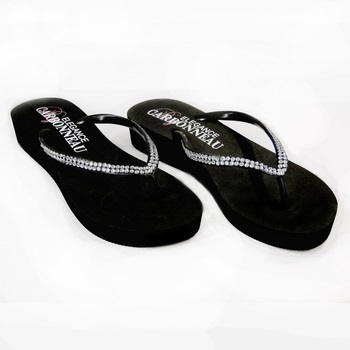 Sunshine ~ Low Heel Black  Flip Flops