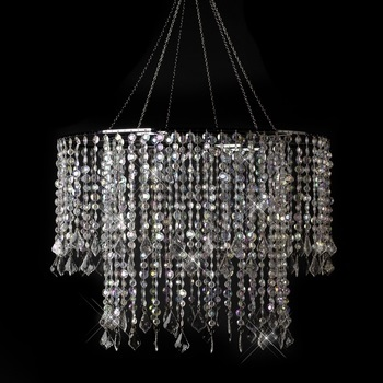 Multi Diamond Cut Beaded Crystal Chandelier