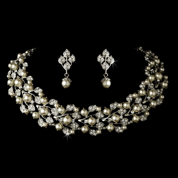 Silver Diamond White Necklace & Earrings Jewelry Set
