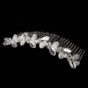 Beautiful Silver Clear Rhinestone & Swarovski Crystal Flower Bridal Comb