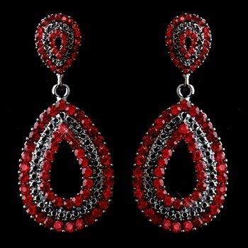 Antiques Silver Red Rhinestone Earrings
