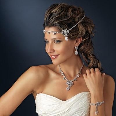 Silver Clear Round Rhinestone Floral Bridal Headband