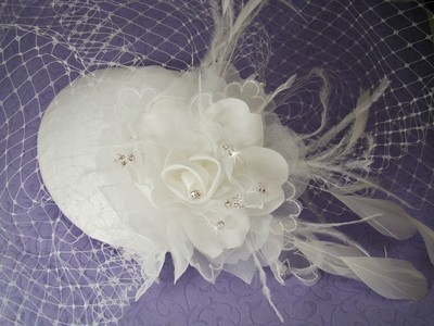 Vintage Bridal Hat w/ Bird Cage Face Veil by WEDDING FACTORY DIRECT