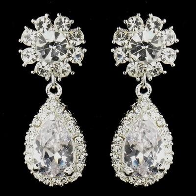 "Silver Clear ""Kim Kardashian"" Inspired Crystal Earrings"
