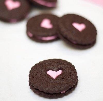 Hot Pink Love Treat Sandwich Cookies