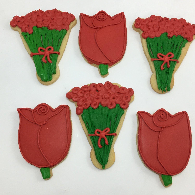 Rose Bud & Bouquet Sugar Cookies