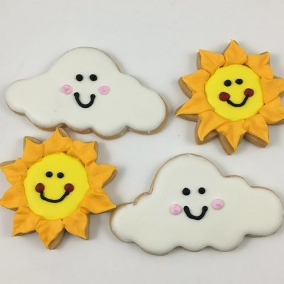 Happy Sun & Cloud Sugar Cookies